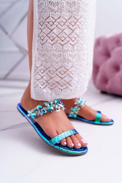 Dámske šľapky farba modrá kód obuvi PYS-2 BLUE