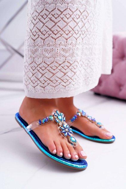Dámske šľapky farba modrá kód obuvi 9698 BLUE