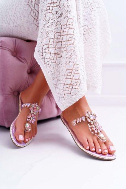 Dámske šľapky farba ružová kód obuvi 9698 PINK