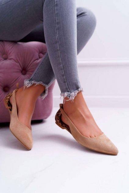 Dámske balerínky farba hnedá kód obuvi A978-1 BEIGE/CAMEL