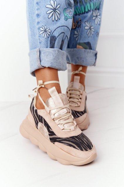 Dámske tenisky farba hnedá kód obuvi 002-6 BEIGE