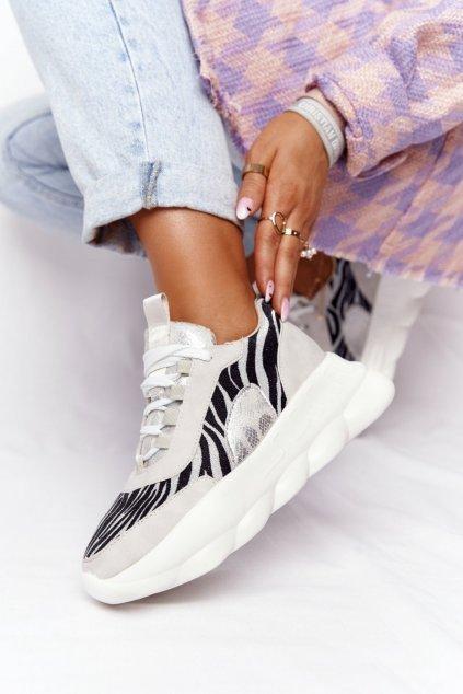 Dámske tenisky farba sivá kód obuvi 002-6 L.GREY