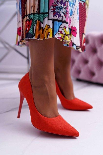Dámske lodičky farba oranžová kód obuvi LE07 ORANGE