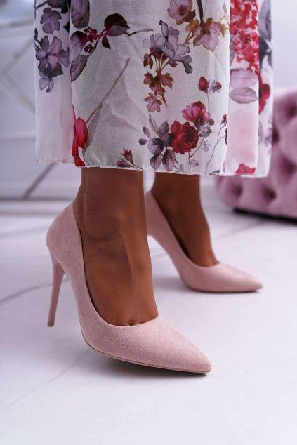 Dámske semišové lodičky na ihlovom podpätku ružové Yanna
