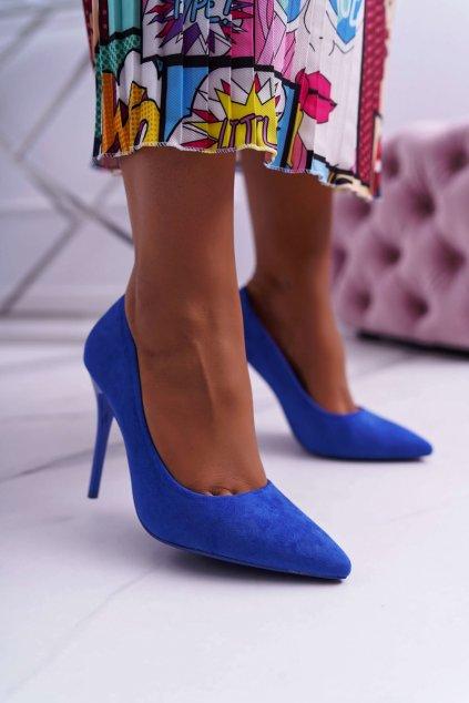 Dámske semišové lodičky na ihlovom podpätku modré Yanna