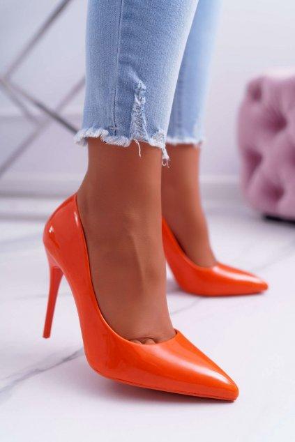 Dámske lodičky farba oranžová kód obuvi LE03 ORANGE