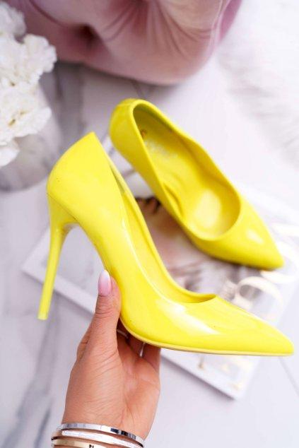 Dámske lodičky na ihlovom podpätku žlté lemon Yanna