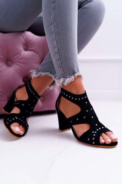 Dámske Sandále na podpätku Lu Boo čierne s Výřezy Things