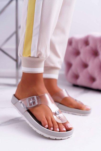Dámske šľapky farba sivá kód obuvi BG31 GREY