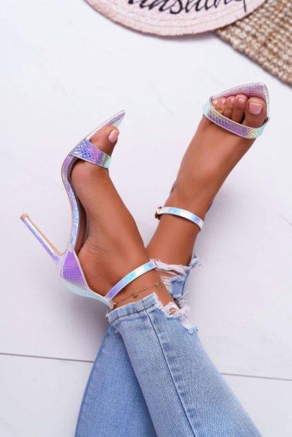 Dámske sandále na podpätku farba ružová kód obuvi 0982-2B PINK