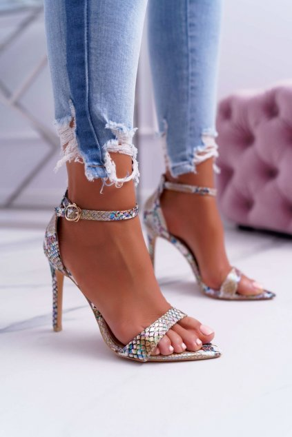 Dámske sandále na podpätku farba hnedá kód obuvi B0982-2B BEIGE