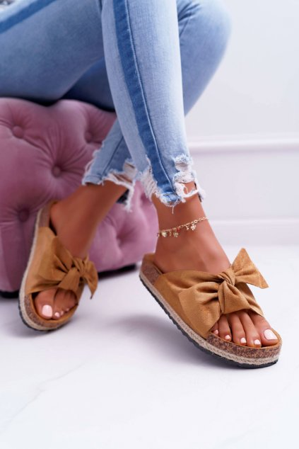 Dámske korkové papuče s mašľou ťavia Misto