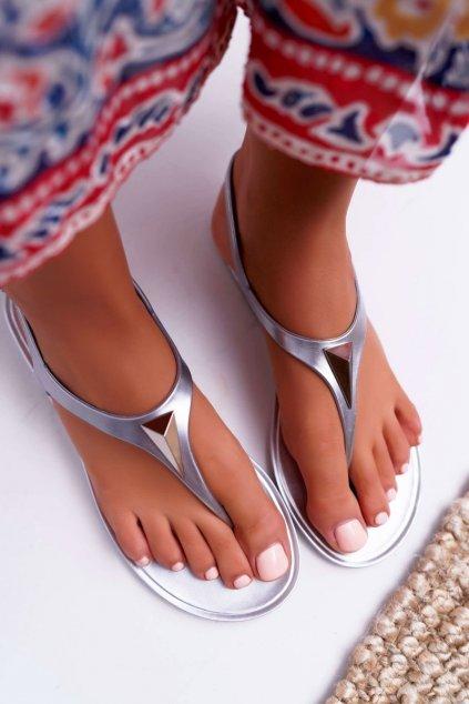 Dámske sandále farba sivá kód obuvi KM08-14 SILVER