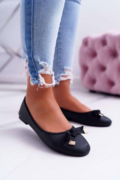 Dámske balerínky farba čierna kód obuvi 9BL06-1519 BLK