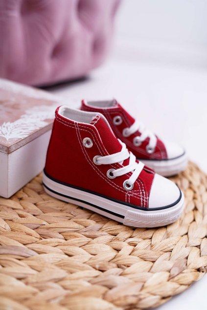 Detské tenisky farba červená kód obuvi 80090 RED