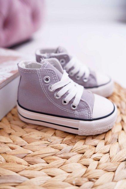 Detské tenisky farba sivá kód obuvi 80090-E GREY