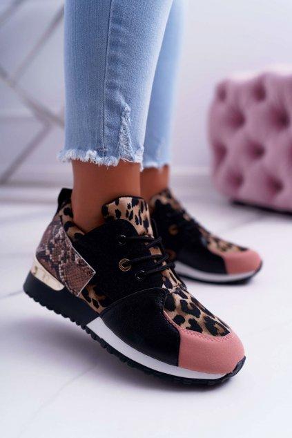 Dámska športová obuv čierne Leopardí Tri Star