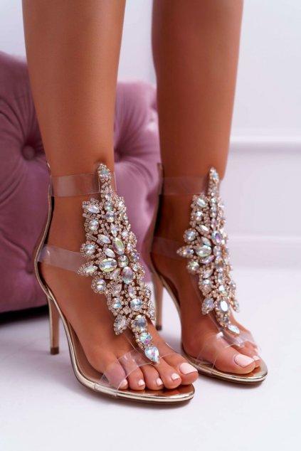 Dámske sandále na podpätku Lu Boo Zlaté 2047-89 Milleni