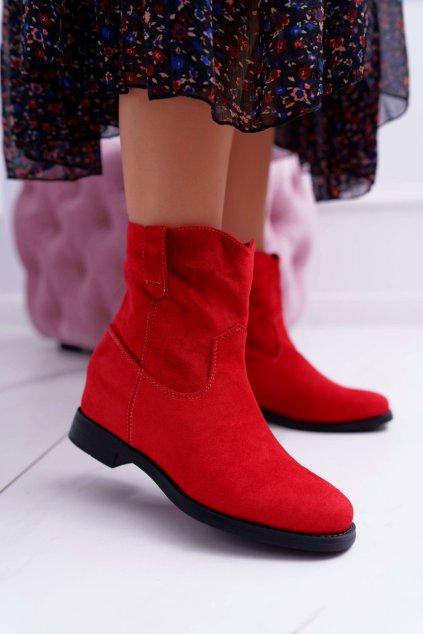 Dámske členkové topánky zateplené Červené Demini