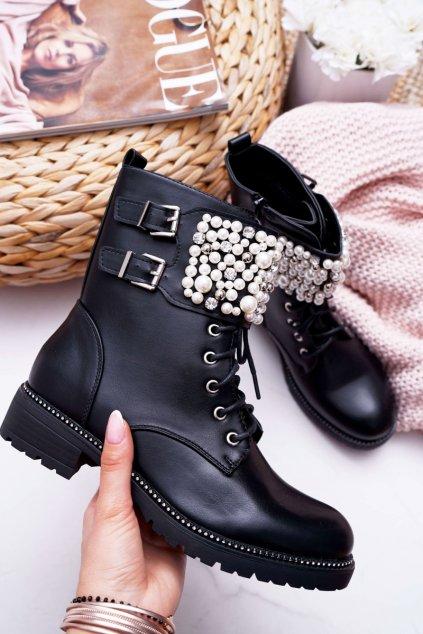 Dámske členkové topánky Military čierne Bemmer