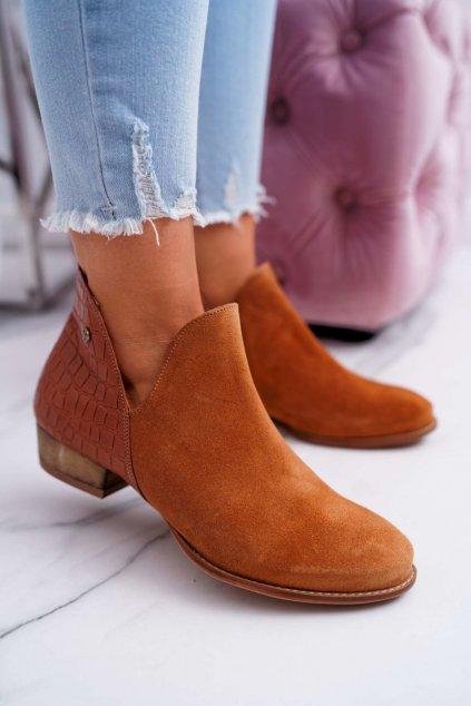 Členkové topánky na podpätku farba hnedá kód obuvi 04091-29 RUDE