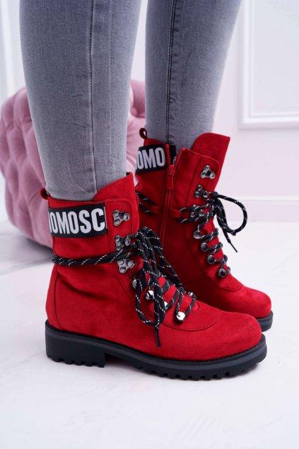 Členkové topánky na podpätku farba červená kód obuvi 9BT35-1331 RED