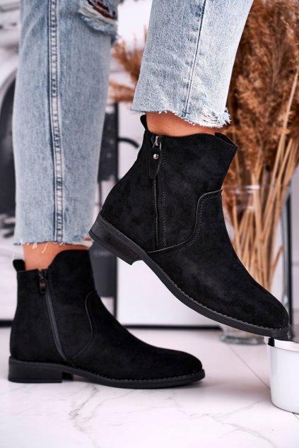 Členkové topánky na podpätku farba čierna kód obuvi 9BT35-1309 BLK
