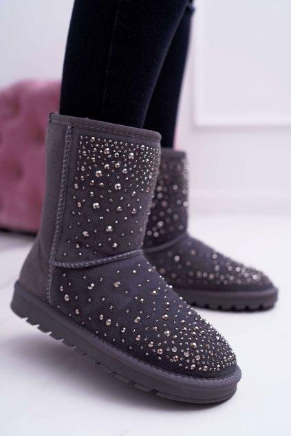 sivé kožené topánky Snow Shine