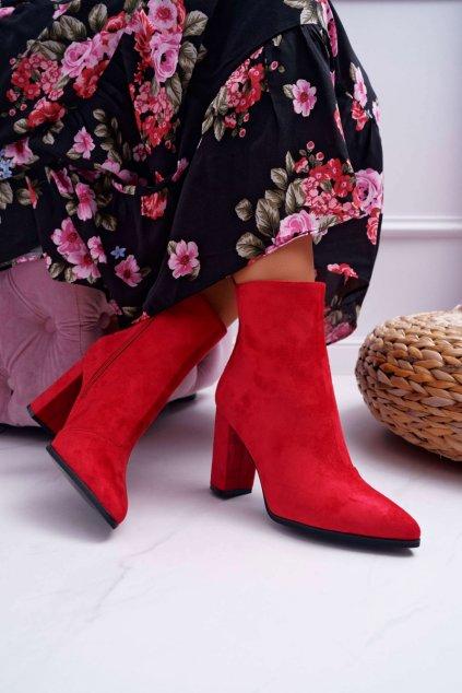 Dámske členkové topánky na podpätku so zipsom Červené Ferol