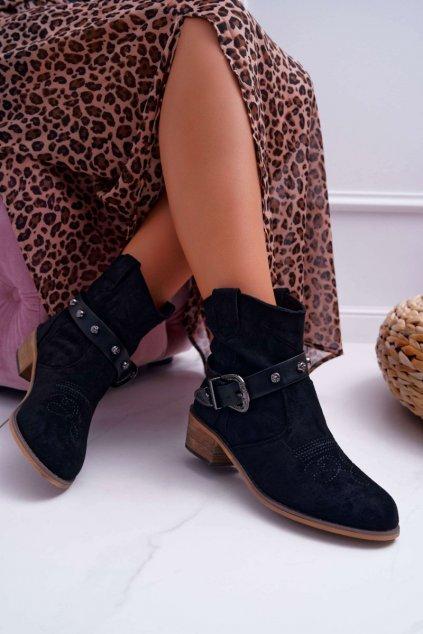 Členkové topánky na podpätku farba čierna kód obuvi 226-BO-2 BLK