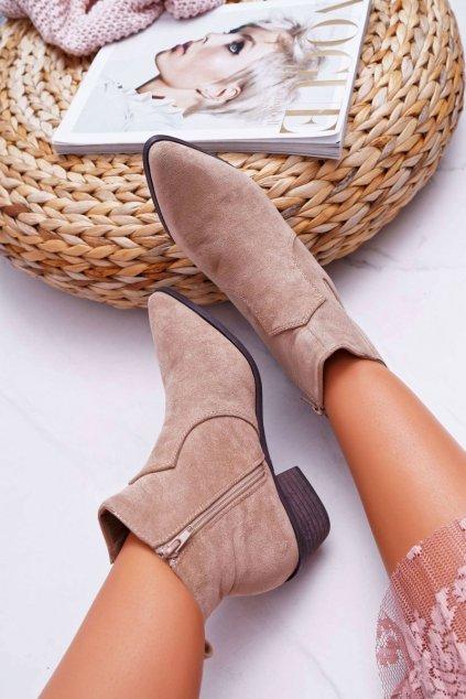 Dámske členkové topánky béžové Umberco
