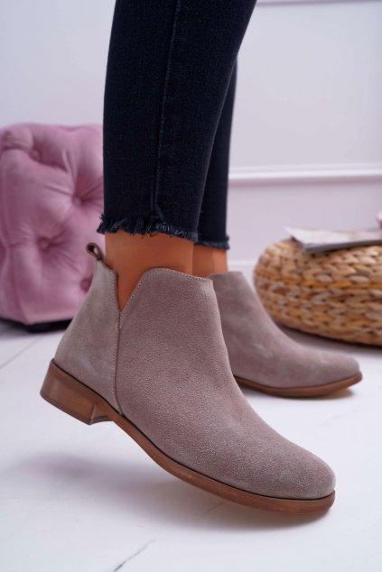 Členkové topánky na podpätku farba hnedá kód obuvi 2334 CAPPUCCINO/W/J