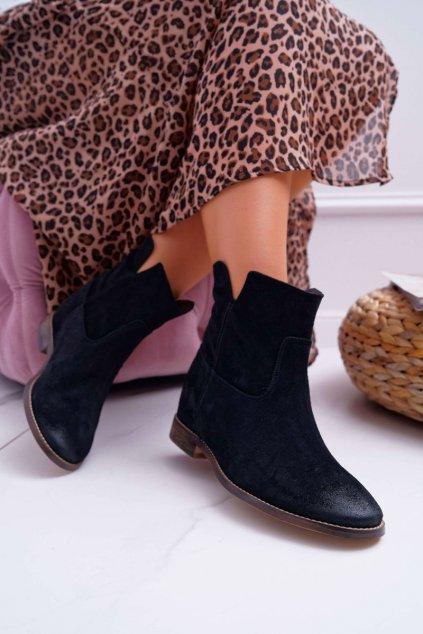 Členkové topánky na podpätku farba čierna kód obuvi 2419 BLK/W