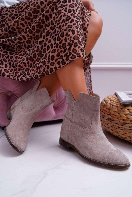 Členkové topánky na podpätku farba hnedá kód obuvi 2419 CAPPUCCINO/W/J