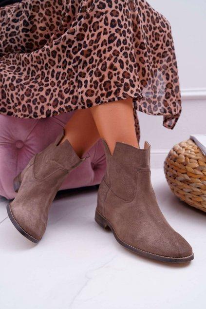Členkové topánky na podpätku farba hnedá kód obuvi 2419 CAPPUCCINO/W DARK