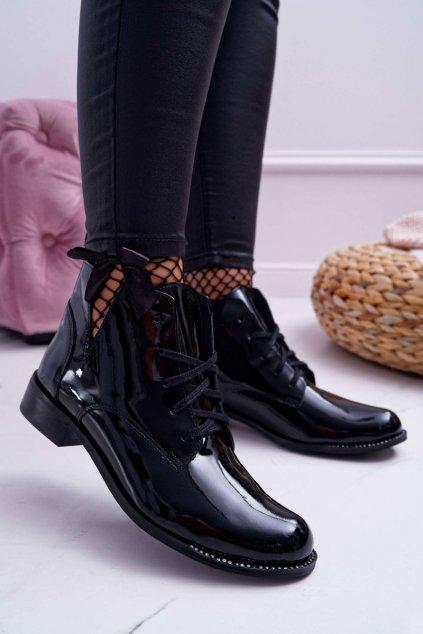 Dámske členkové topánky Lakované čierne Nicole 2420