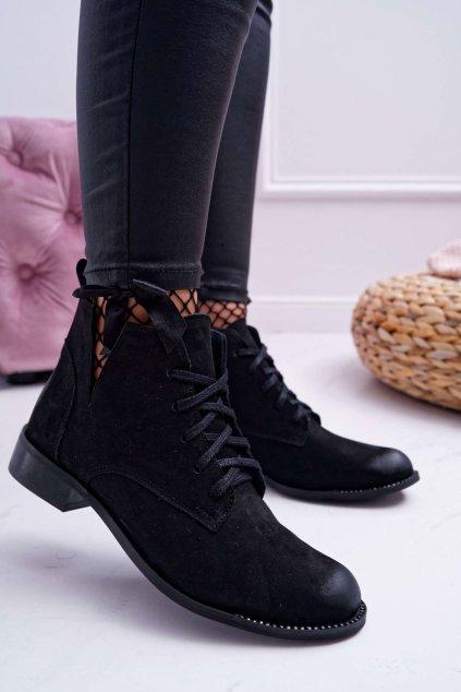 Dámske členkové topánky Nubukové čierne Nicole 2420
