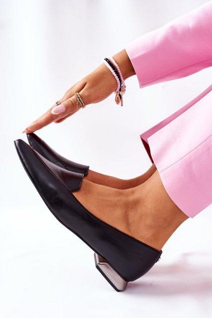 Dámske poltopánky farba čierna kód obuvi 2074 BLK