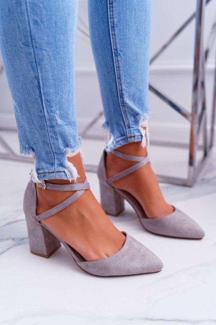 Dámske lodičky farba sivá kód obuvi LE063 GREY