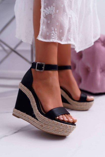 Dámske Sandále na kline čierne Devon