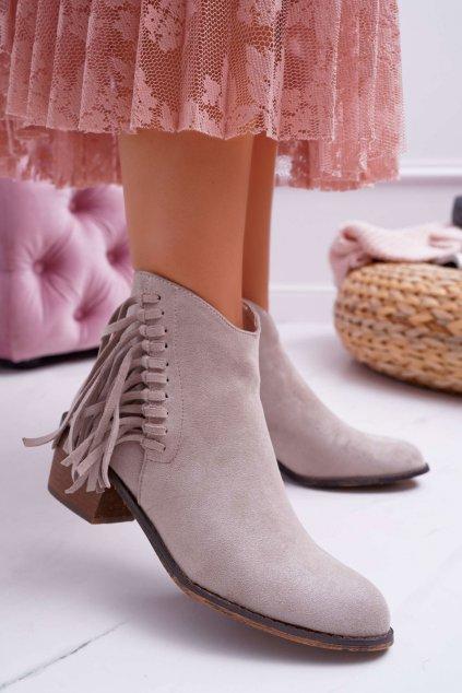Dámske členkové topánky béžové Agnes