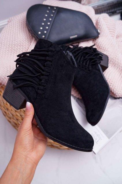 Členkové topánky na podpätku farba čierna kód obuvi G1768 BLACK