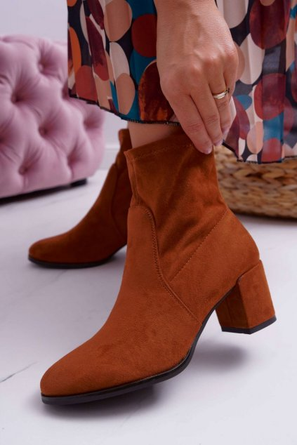 Členkové topánky na podpätku farba hnedá kód obuvi BT150 CAMEL