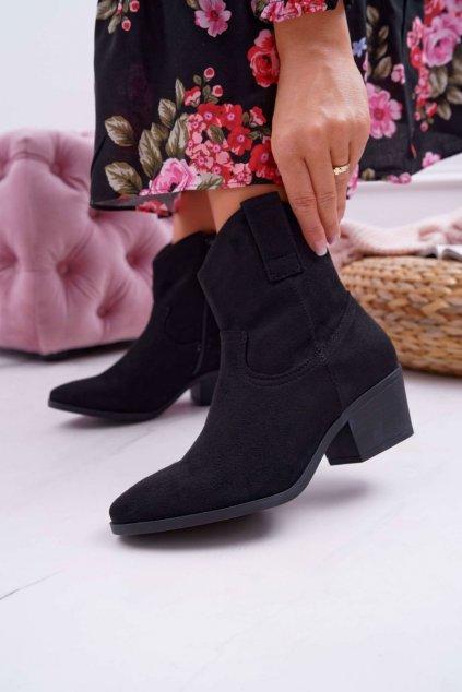 Členkové topánky na podpätku farba čierna kód obuvi 99-24 BLK