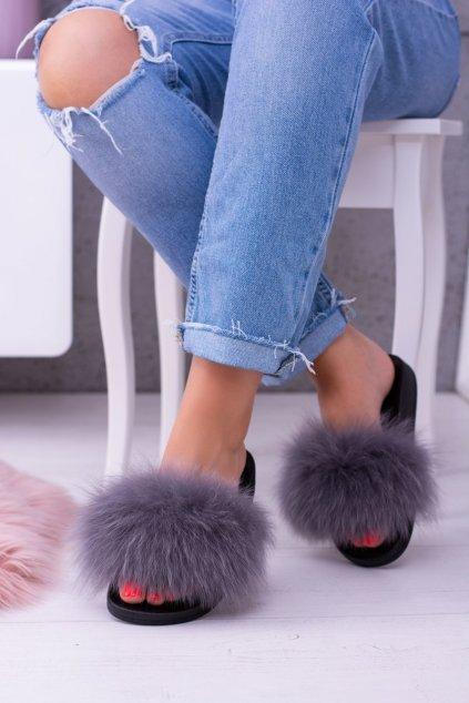Papuče pre ženy s prírodnou kožou sivé Naturis
