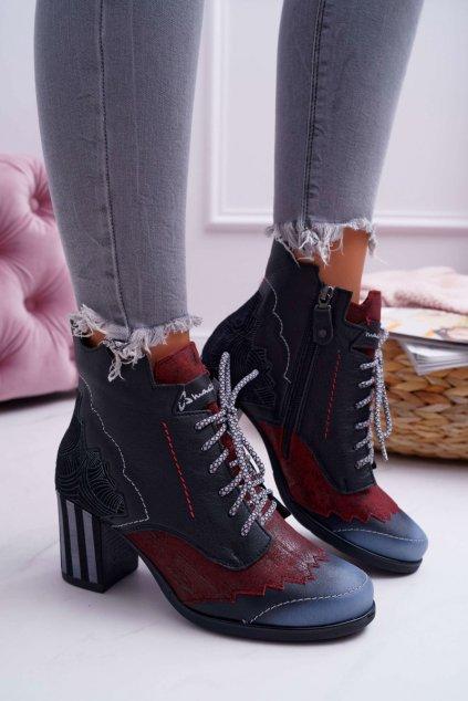 Členkové topánky na podpätku farba čierna kód obuvi 03190-01/00-3 BLK