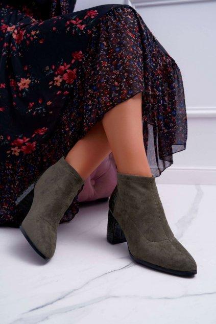 Členkové topánky na podpätku farba hnedá kód obuvi L50-1 KHAKI