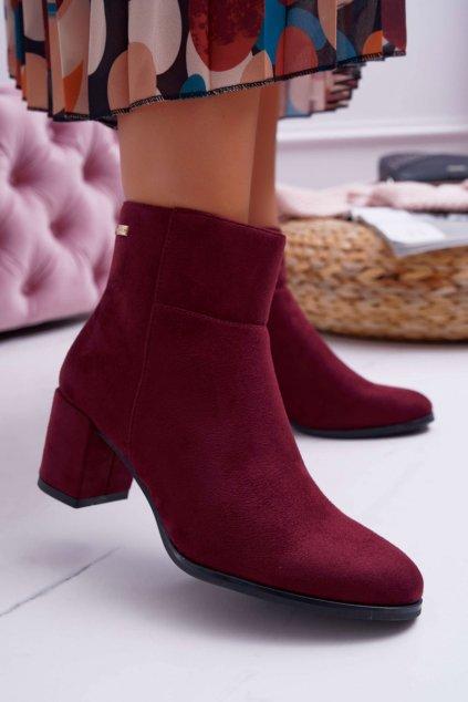 Členkové topánky na podpätku farba červená kód obuvi BT522 BURGUNDY MIC