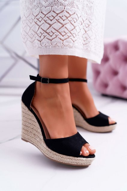 Dámske sandále na kline espadrilky čierne Trame
