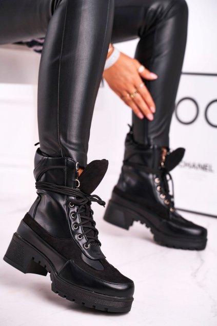 Dámske členkové topánky šnerovací čierne Ridley